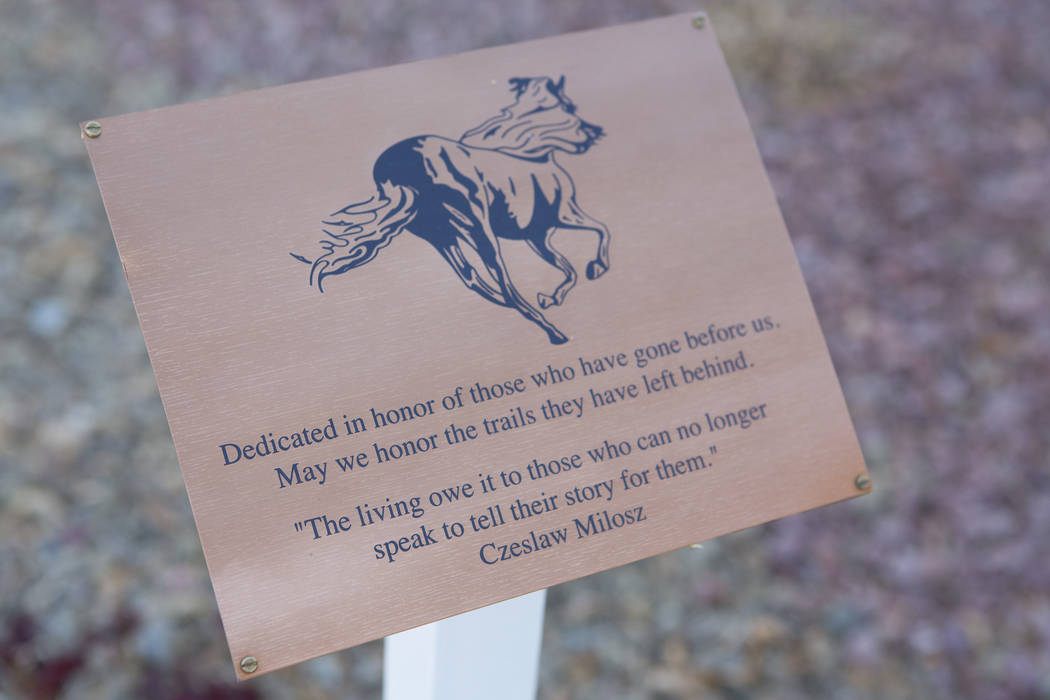A memorial for staff and students that have passed is on display in front of Joseph Neal Elementary School on Tuesday, Feb. 28, 2017, in Las Vegas .  (Bridget Bennett/Las Vegas Review-Journal) @br ...