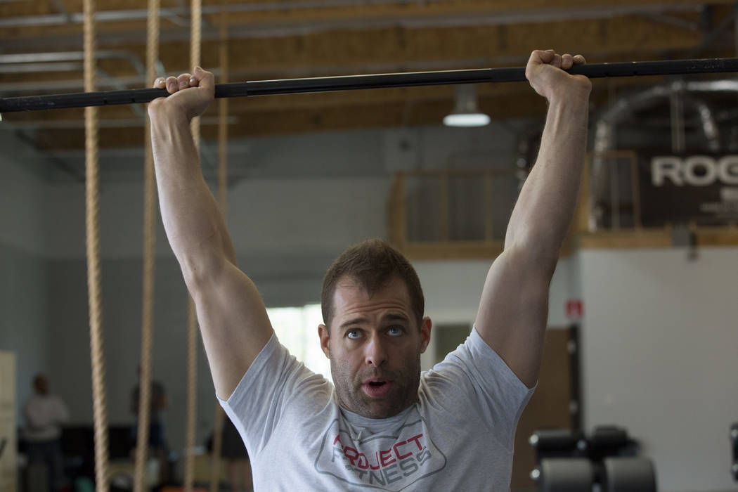 Drew Pollner demonstrates an exercise as he leads a training session at Project Fitness on Wednesday, March 1, 2017, in Las Vegas. Pollner recently opened Project Fitness which includes strength t ...