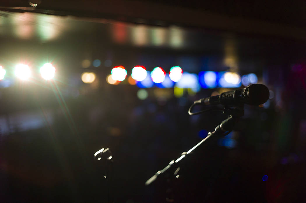 A microphone on stage at Saddle 'N' Spurs Saloon, 2333 N. Jones Blvd., in Las Vegas on Friday, March 3, 2017. (Chase Stevens/Las Vegas Review-Journal) @csstevensphoto