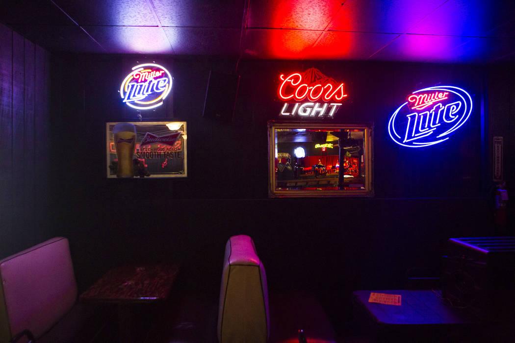 Neon signs on a wall inside Saddle 'N' Spurs Saloon, 2333 N. Jones Blvd., in Las Vegas on Friday, March 3, 2017. (Chase Stevens/Las Vegas Review-Journal) @csstevensphoto