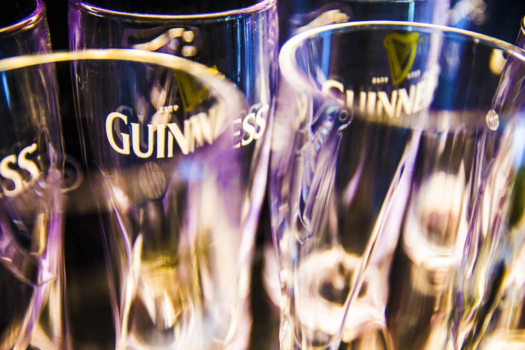 Guinness pint glasses on Thursday, March 2, 2017, at The Guinness Experience at the Guinness Store in the Mandalay Bay hotel-casino, in Las Vegas. (Benjamin Hager/Las Vegas Review-Journal) @benjam ...