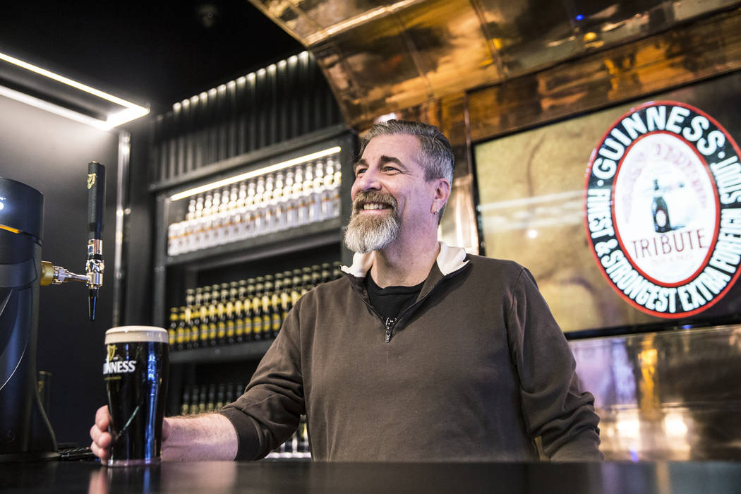John Notabartolo enjoys a pint of Guinness on Thursday, March 2, 2017, at The Guinness Experience at the Guinness Store  in the Mandalay Bay hotel-casino, in Las Vegas.  (Benjamin Hager/Las Vegas  ...