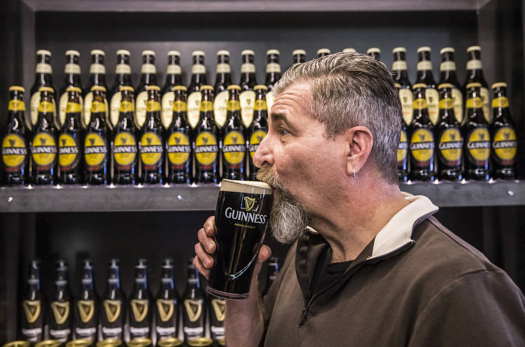 John Notabartolo takes a sip of a pint of Guinness on Thursday, March 2, 2017, at The Guinness Experience at the Guinness Store in the Mandalay Bay hotel-casino, in Las Vegas. (Benjamin Hager/Las  ...