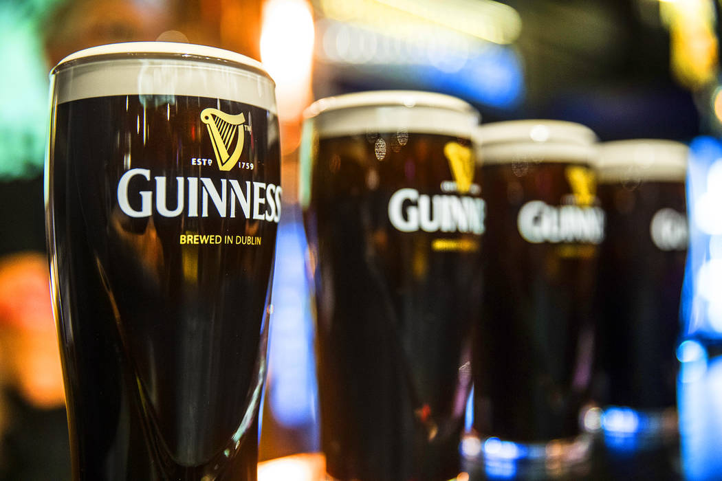 Pints of Guinness at The Guinness Experience on Thursday, March 2, 2017, at the Guinness Store in the Mandalay Bay hotel-casino in Las Vegas.  (Benjamin Hager/Las Vegas Review-Journal) @benjaminhphoto