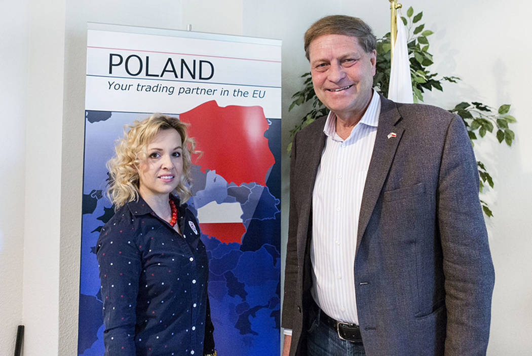 Aleksandra Szklarewicz, left, consulate assistant, and John Petkus, honorary consul of the Consulate of the Republic of Poland in Las Vegas, in the office, March 6, 2017.  (Elizabeth Brumley/Las V ...