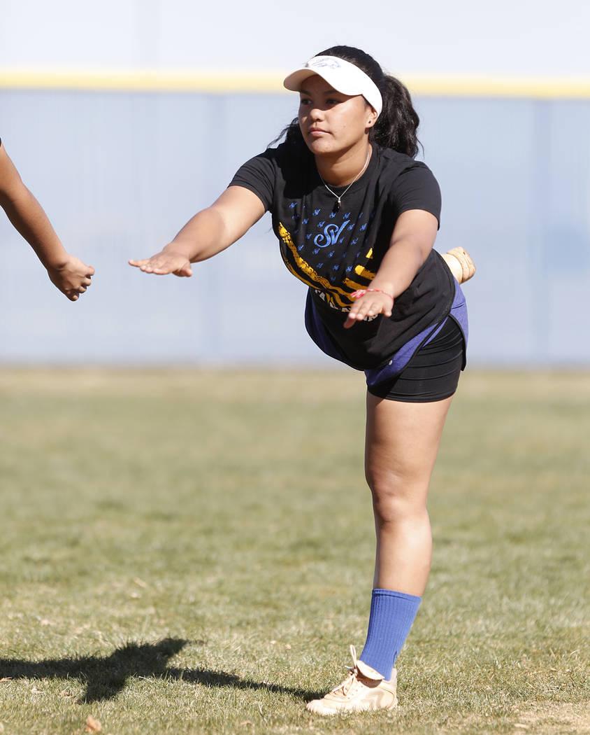 Sierra Vista High's softball captain Kalei Watkins stretches during team's practice on Friday, March 3, 2017, in Las Vegas. (Bizuayehu Tesfaye/Las Vegas Review-Journal) @bizutesfaye