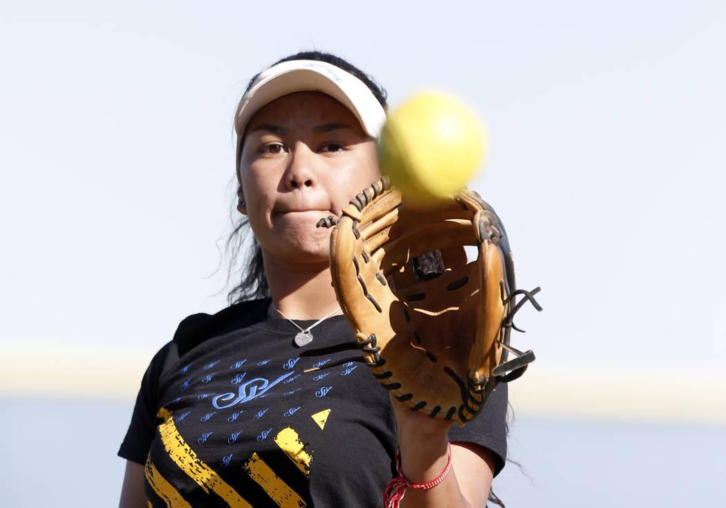 Sierra Vista High's softball captain Kalei Watkins catches the ball  during team's practice on Friday, March 3, 2017, in Las Vegas. (Bizuayehu Tesfaye/Las Vegas Review-Journal) @bizutesfaye