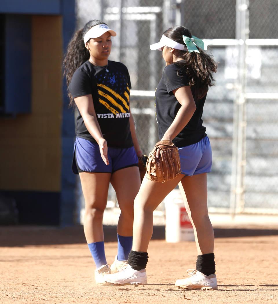 Sierra Vista High's softball captain Kalei Watkins, left, and her sister Ryan during team's practice on Friday, March 3, 2017, in Las Vegas. (Bizuayehu Tesfaye/Las Vegas Review-Journal) @bizutesfaye