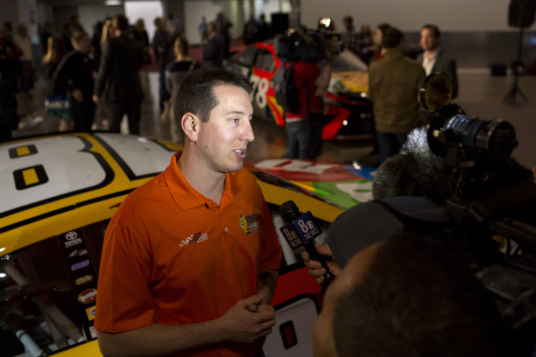 NASCAR driver Kyle Busch speaks with media at Cashman Center on Wednesday, March 8, 2017, in Las Vegas. Officials announced on Wednesday that Las Vegas would become the home of a second yearly NAS ...