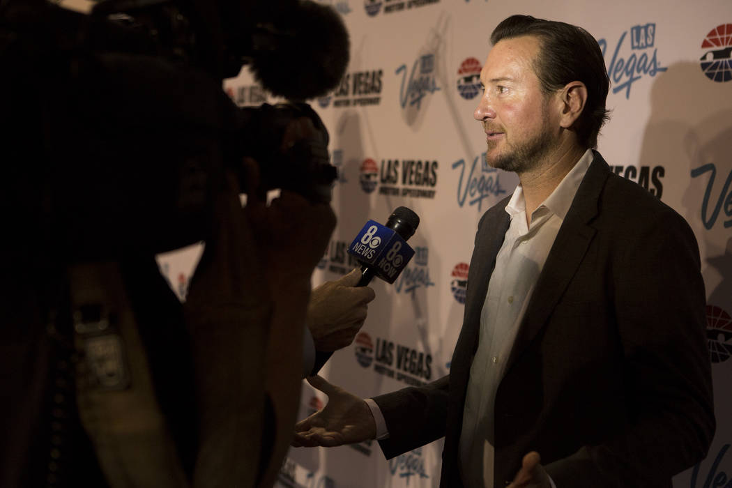 NASCAR driver Kurt Busch speaks with media at Cashman Center on Wednesday, March 8, 2017, in Las Vegas. Officials announced on Wednesday that Las Vegas would become the home of a second yearly NAS ...