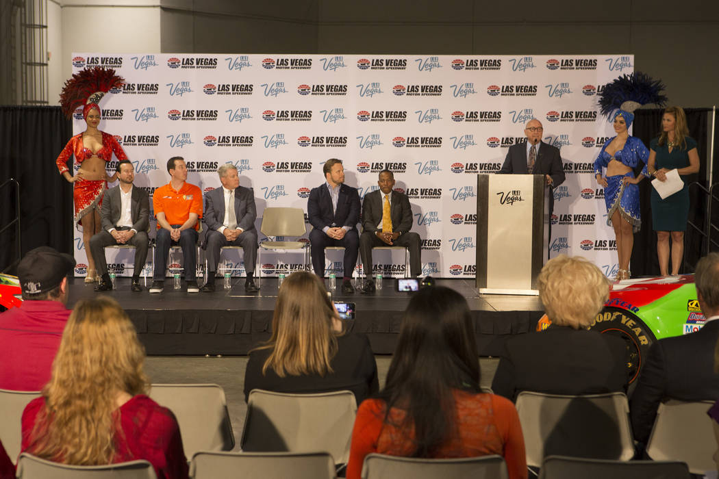 CEO of the Las Vegas Convention and Visitors Authority Rossi Ralenkotter, at the podium, addresses members of the media during a press conference at Cashman Center on Wednesday, March 8, 2017, in  ...