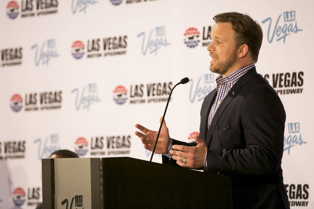 President and chief executive officer of Speedway Motorsports Markus Smith addresses the media at Cashman Center on Wednesday, March 8, 2017, in Las Vegas. It was announced that Las Vegas Motor Sp ...