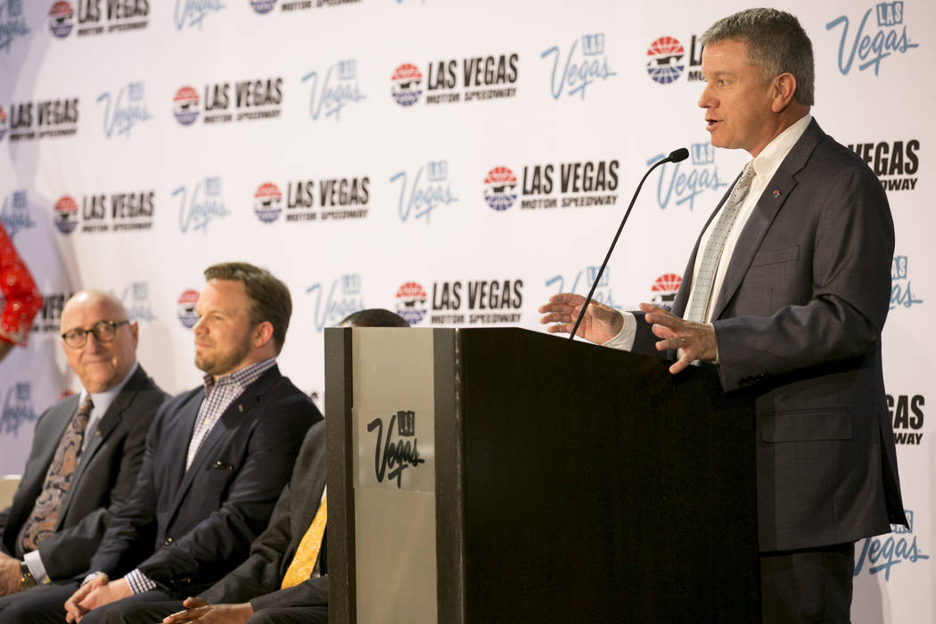 General manager of the Las Vegas Motor Speedway Chris Powel addresses members of the media during a press conference at Cashman Center on Wednesday, March 8, 2017, in Las Vegas. It was announced t ...