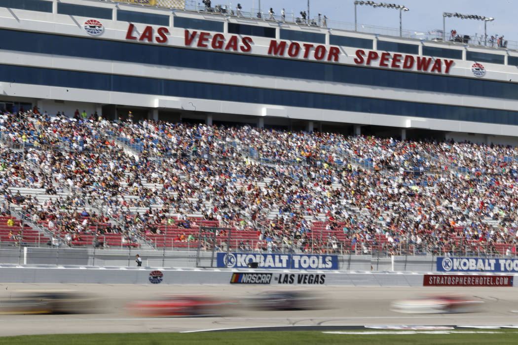 Drivers run laps during the Boyd Gaming 300 NASCAR Xfinity Series auto race at Las Vegas Motor Speedway Saturday, March 11, 2017, in Las Vegas. (Christian K. Lee/Las Vegas Review-Journal) @chriskl ...