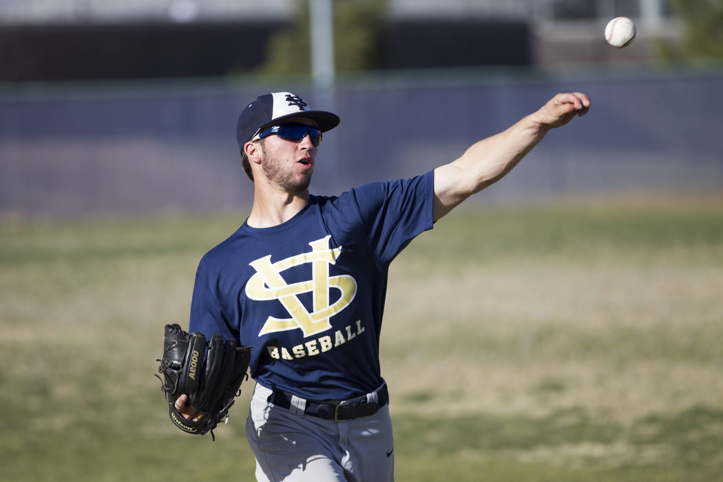 Spring Valley's Nick Rupp, 18, during baseball practice at Spring Valley High School on Tuesday, March 7, 2017, in Las Vegas. (Erik Verduzco/Las Vegas Review-Journal) @Erik_Verduzco
