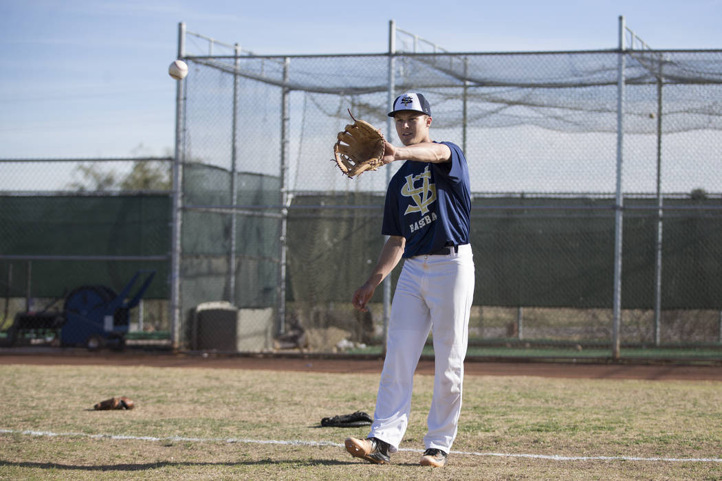 Spring Valley's Bryce Bullock, 18, during baseball practice at Spring Valley High School on Tuesday, March 7, 2017, in Las Vegas. (Erik Verduzco/Las Vegas Review-Journal) @Erik_Verduzco