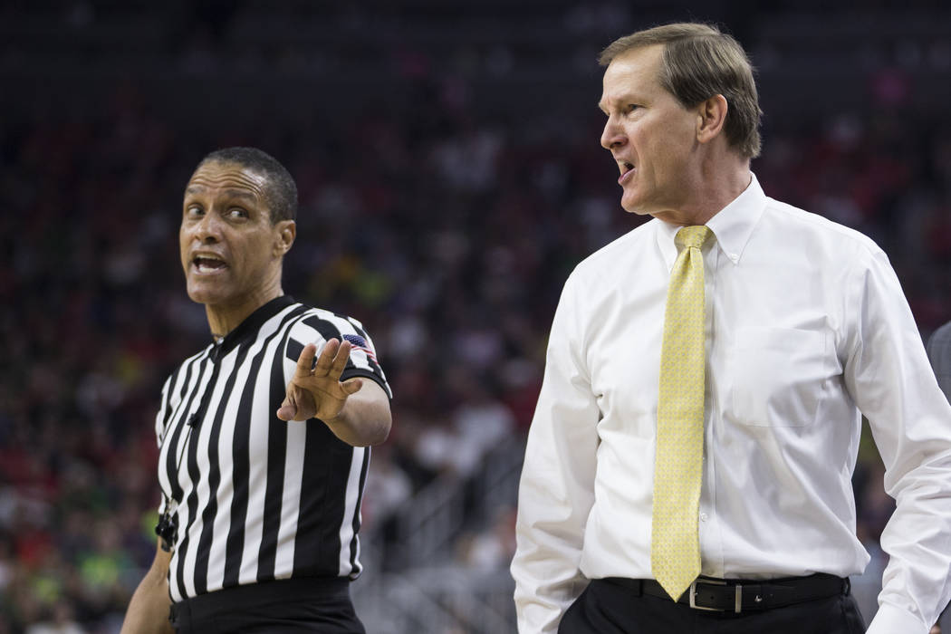 Oregon Ducks head coach Dana Altman reacts during a play against Arizona Wildcats in an NCAA college basketball game for the Pac-12 tournament championship at T-Mobile Arena Saturday, March 11, 20 ...