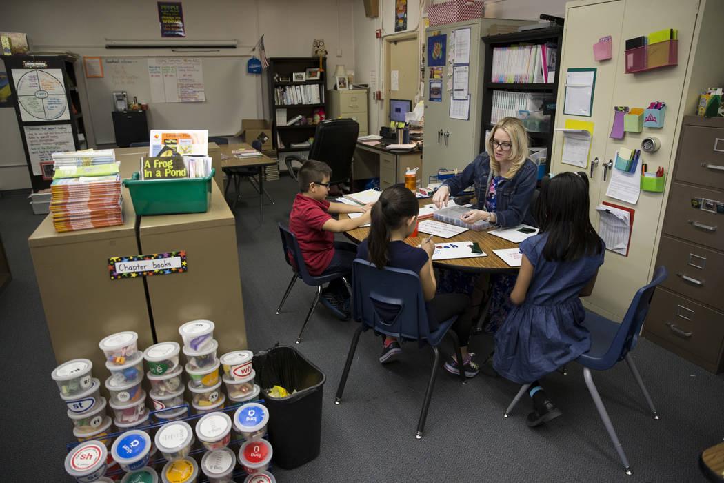 Growth analyst teacher Sara Boucher works with third grade students at Wynn Elementary School on Thursday, March 9, 2017, in Las Vegas. (Erik Verduzco/Las Vegas Review-Journal) @Erik_Verduzco