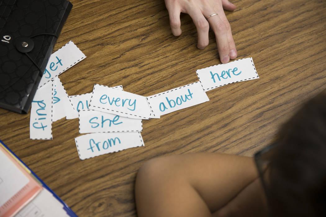 Growth analyst teacher Sara Boucher works on the reading and spelling skills of third grade student Luis Wong at Wynn Elementary School on Thursday, March 9, 2017, in Las Vegas. (Erik Verduzco/Las ...
