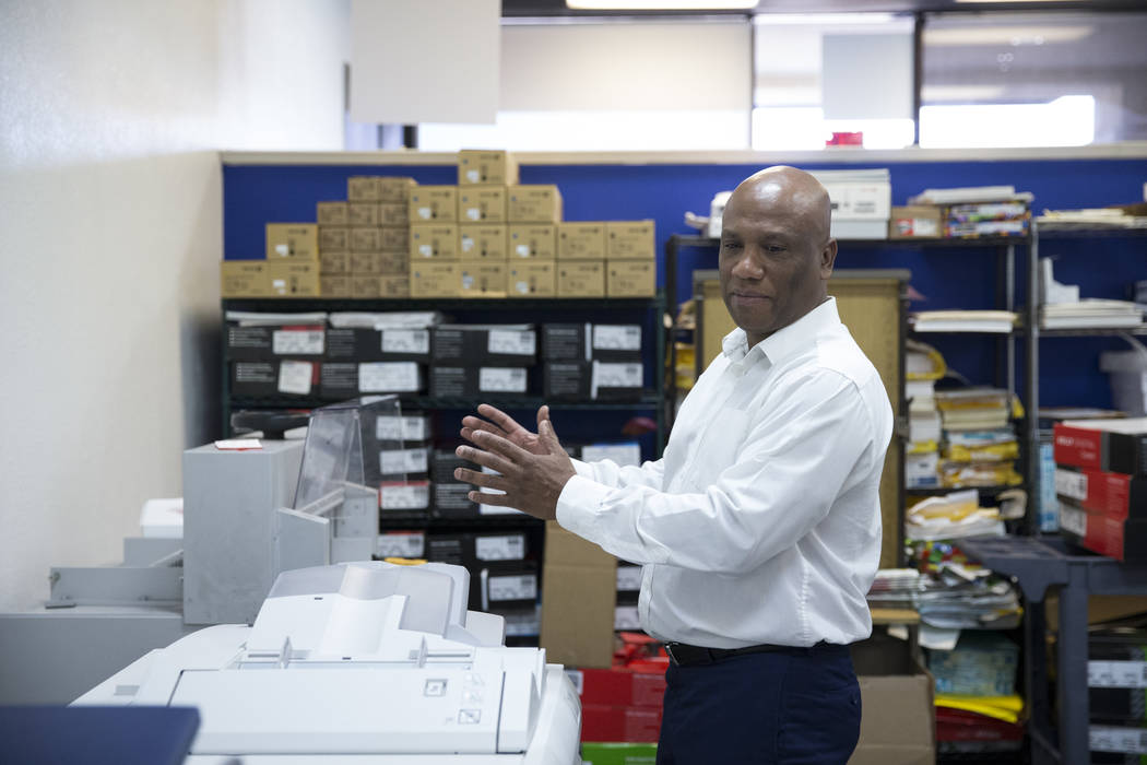 John Pinnington, owner of AA Printing, give a tour of his business on Tuesday, March 7, 2017, in Las Vegas. (Erik Verduzco/Las Vegas Review-Journal) @Erik_Verduzco