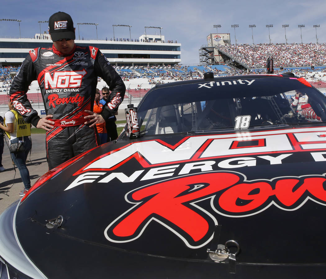 Kyle Busch pauses before the start of a NASCAR Xfinity Series auto race at Las Vegas Motor Speedway Saturday, March 11, 2017, in Las Vegas. (Christian K. Lee/Las Vegas Review-Journal) @chrisklee_jpeg