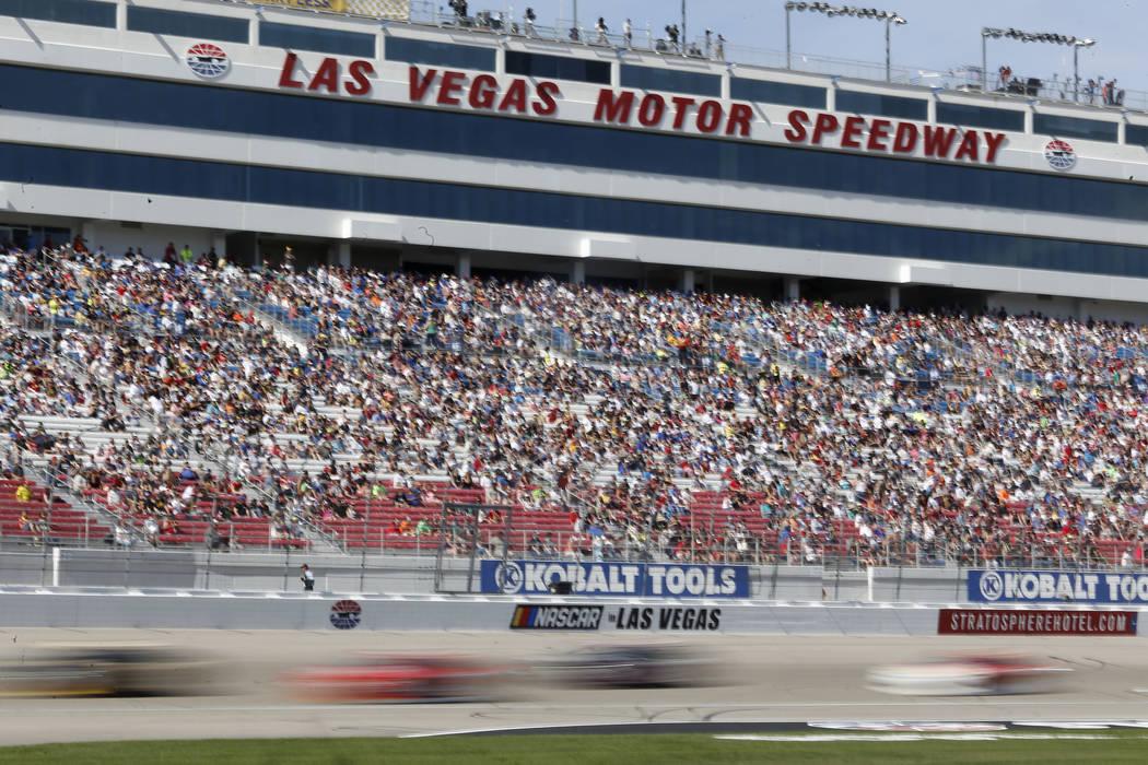 Drivers run laps during the NASCAR Xfinity Series auto race at Las Vegas Motor Speedway Saturday, March 11, 2017, in Las Vegas. (Christian K. Lee/Las Vegas Review-Journal) @chrisklee_jpeg