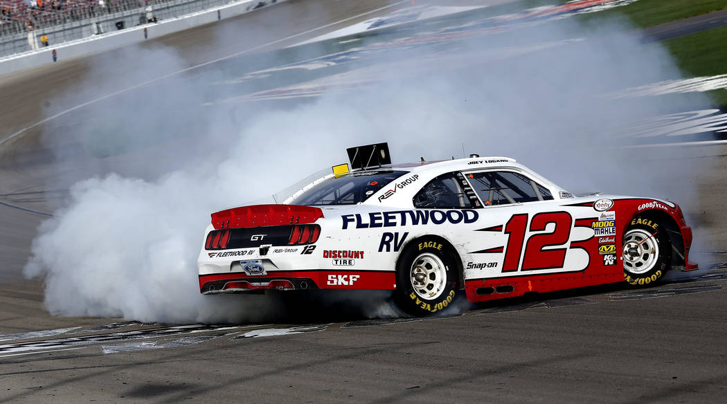 Joey Logano (12) burns out after winning the NASCAR Xfinity Series auto race at Las Vegas Motor Speedway Saturday, March 11, 2017, in Las Vegas. (Christian K. Lee/Las Vegas Review-Journal) @chrisk ...