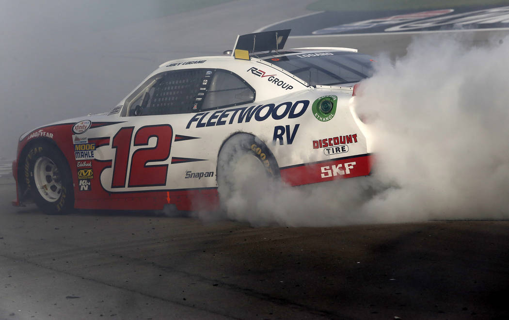 Joey Logano (12) burns out after winning a NASCAR Xfinity Series auto race at Las Vegas Motor Speedway Saturday, March 11, 2017, in Las Vegas. (Christian K. Lee/Las Vegas Review-Journal) @chriskle ...