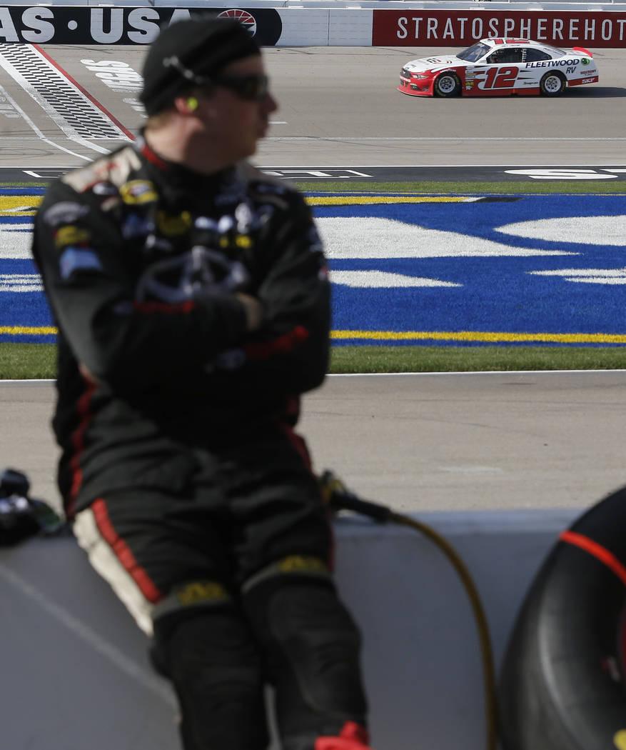 Joey Logano (12) runs a lap during a NASCAR Xfinity Series auto race at Las Vegas Motor Speedway Saturday, March 11, 2017, in Las Vegas. (Christian K. Lee/Las Vegas Review-Journal) @chrisklee_jpeg