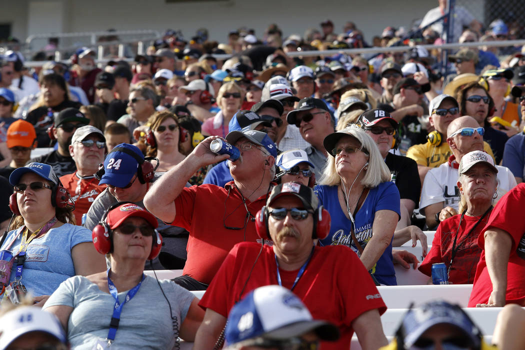 Fans watch a NASCAR Xfinity Series auto race at Las Vegas Motor Speedway Saturday, March 11, 2017, in Las Vegas. (Christian K. Lee/Las Vegas Review-Journal) @chrisklee_jpeg
