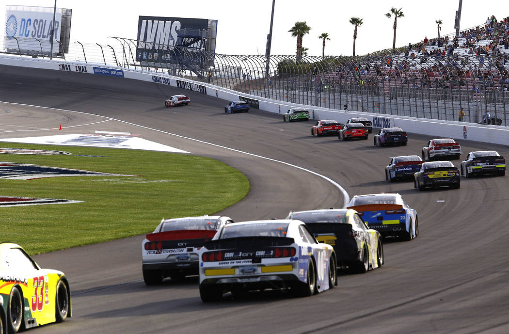 Joey Logano (12) leads the field during a NASCAR Xfinity Series auto race at Las Vegas Motor Speedway Saturday, March 11, 2017, in Las Vegas. (Christian K. Lee/Las Vegas Review-Journal) @chrisklee ...