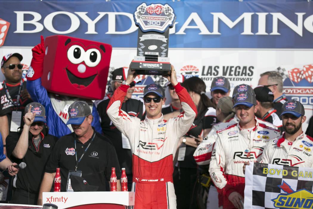 Driver Joey Logano (12) celebrates his first place win of the NASCAR Boyd Gaming 300 auto race at Las Vegas Motor Speedway on Saturday, March 11, 2017, in Las Vegas. (Bridget Bennett/Las Vegas Rev ...