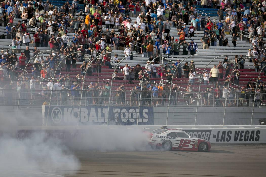 Joey Logano (12) burns in celebration of winning the Boyd Gaming 300 auto race at Las Vegas Motor Speedway on Saturday, March 11, 2017, in Las Vegas. (Bridget Bennett/Las Vegas Review-Journal) @br ...