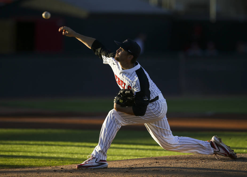 UNLV's Alan Strong (16) pitches to New Mexico during a baseball game at Wilson Stadium in Las Vegas on Friday, March 24, 2017. (Chase Stevens/Las Vegas Review-Journal) @csstevensphoto