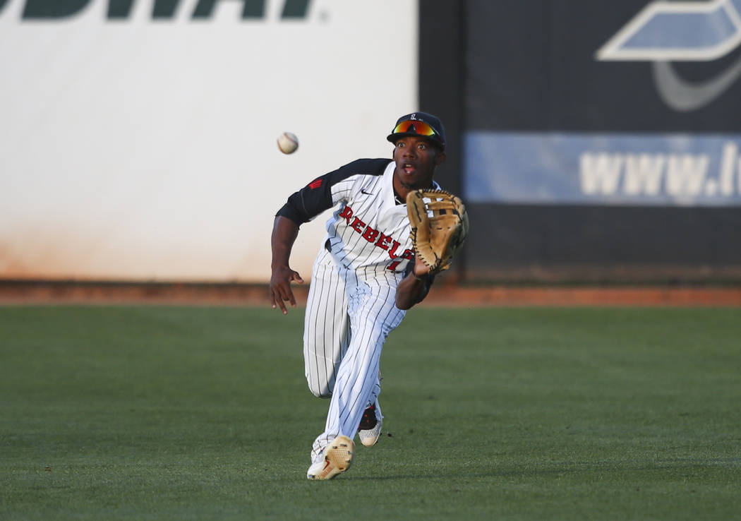 UNLV outfielder Keyon Allen (1) fields a hit from New Mexico during a baseball game at Wilson Stadium in Las Vegas on Friday, March 24, 2017. (Chase Stevens/Las Vegas Review-Journal) @csstevensphoto