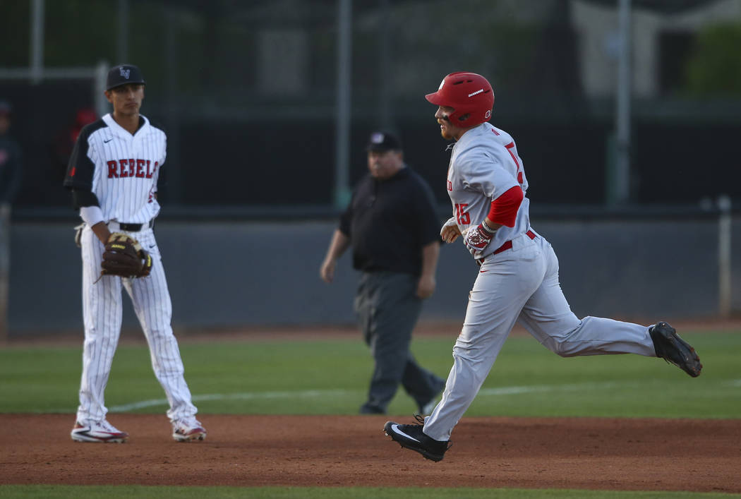 New Mexico outfielder Jared Mang (15) rounds the bases on his home run hit against UNLV during a baseball game at Wilson Stadium in Las Vegas on Friday, March 24, 2017. (Chase Stevens/Las Vegas Re ...