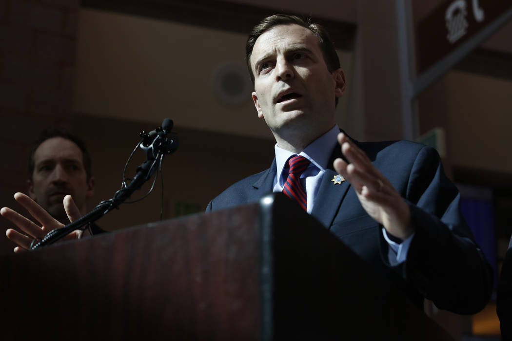 Attorney General Adam Laxalt speaks during a press conference at the Regional Justice Center on Wednesday, March 8, 2017, in Las Vegas. (Christian K. Lee/Las Vegas Review-Journal) @chrisklee_jpeg