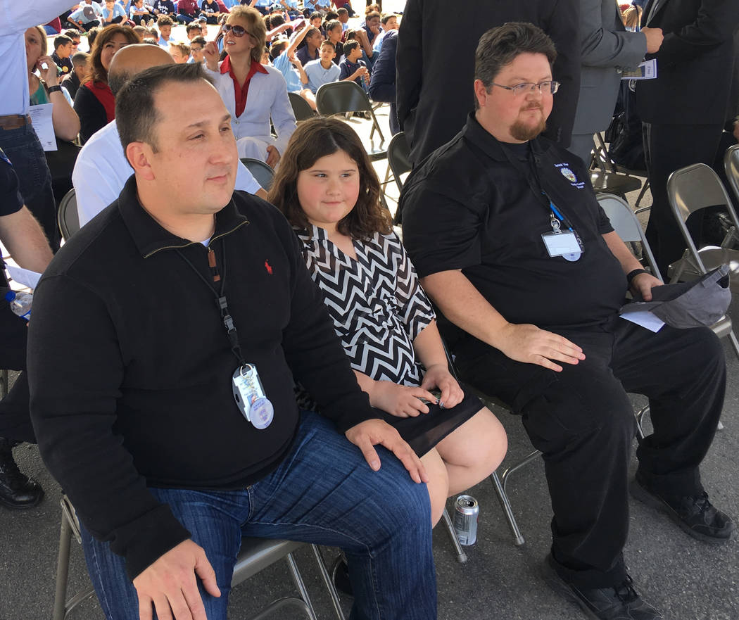 Paul Elizondo, from left, daughter Alyssa, and Robert Elizondo attend the vigil for their brother at Raul P. Elizondo Elementary School in North Las Vegas, Wednesday, March 8, 2017. North Las Vega ...