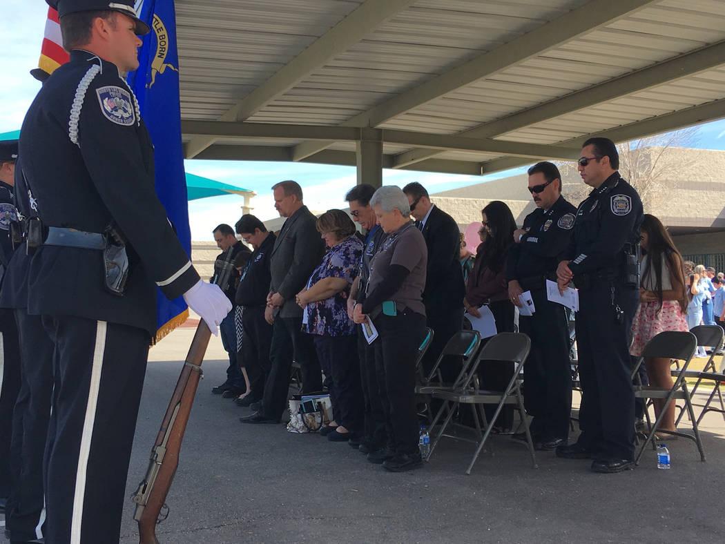 Opening prayer at the vigil for North Las Vegas fallen officer  Raul P. Elizondo at Raul P. Elizondo Elementary School in North Las Vegas, Wednesday, March 8, 2017. Officer Elizondo was shot and k ...