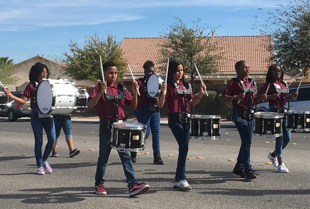 Raul P. Elizondo Elementary School students participate in a parade in memory of North Las Vegas fallen officer Raul P. Elizondo in North Las Vegas, Wednesday, March 8, 2017. Officer Elizondo was  ...