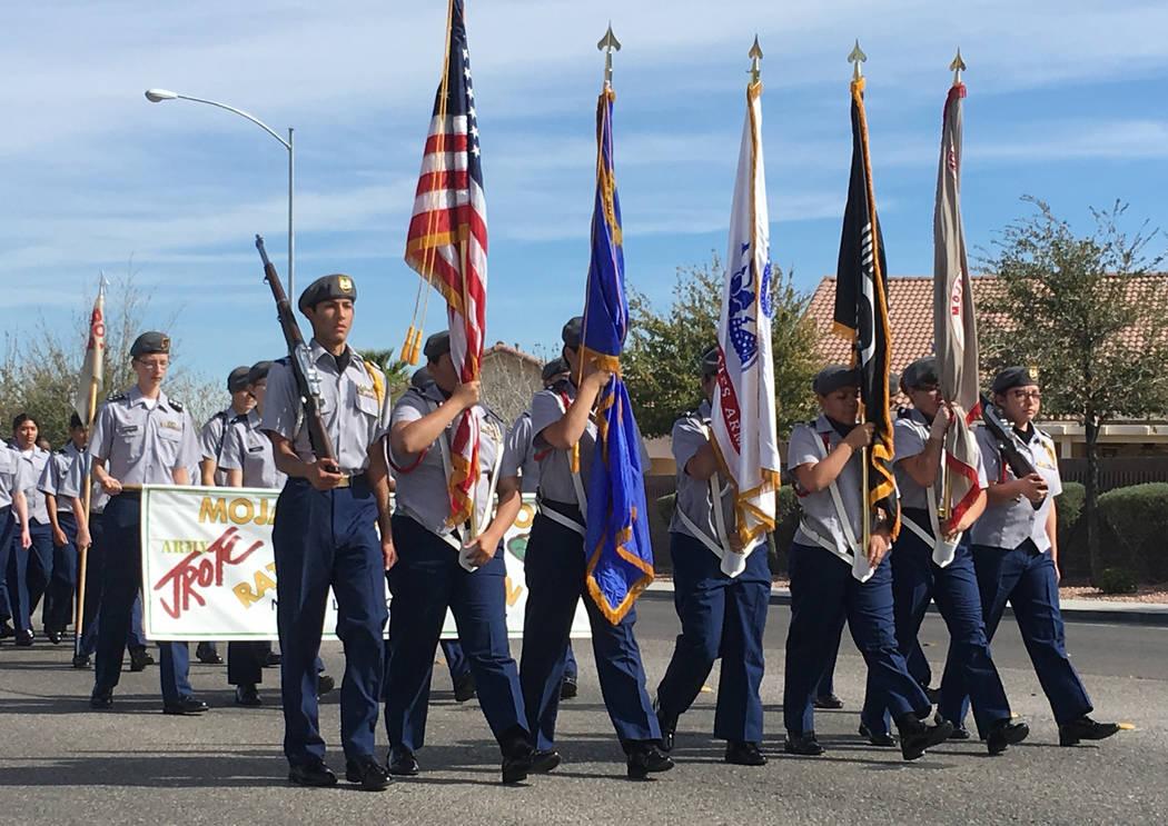 Mojave High School JORTC's Rattle Battalion participates in a parade in memory of North Las Vegas fallen officer Raul P. Elizondo in North Las Vegas, Wednesday, March 8, 2017. Officer Elizondo was ...