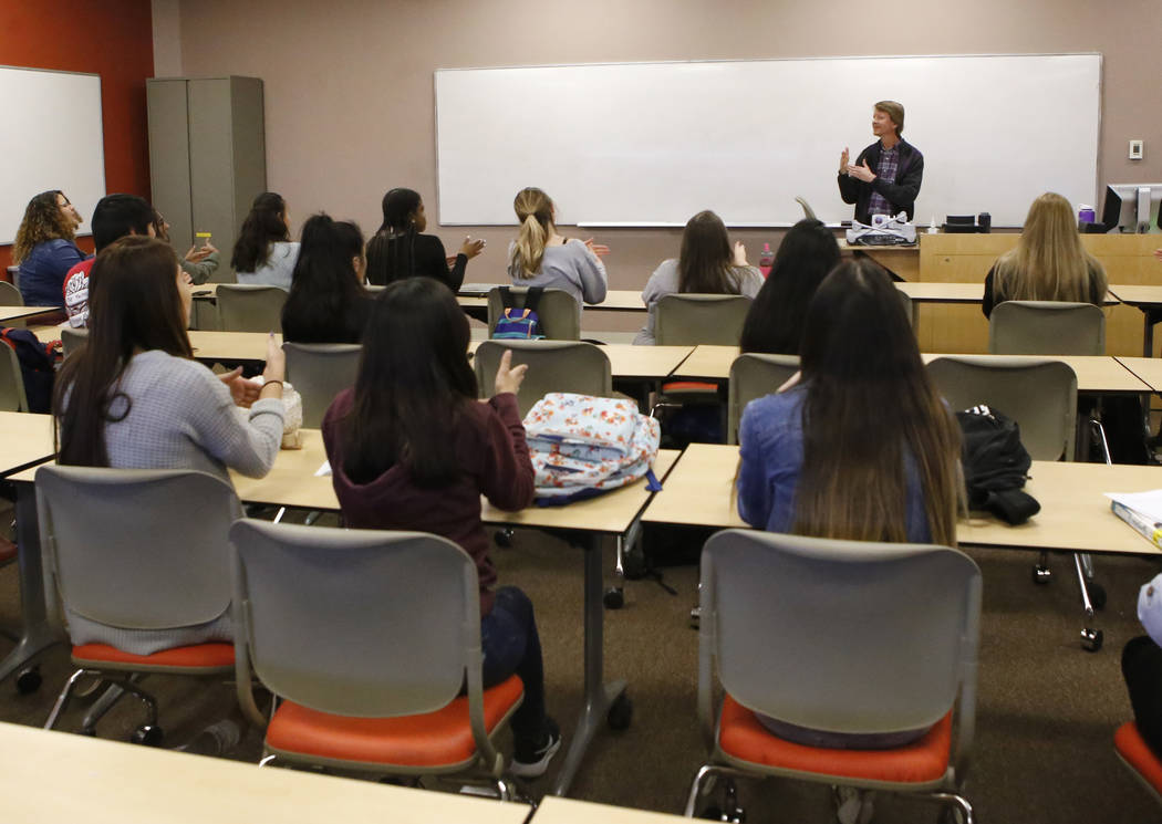 Instructor David Kelsey, 52, signs to a class  at Nevada State College on Wednesday, March 8, 2017, in Henderson. The college will be the first school in the state to offer a bachelor's deg ...