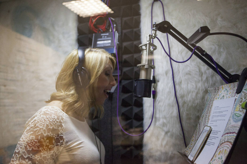 Melissa Moats demonstrates voice acting at the Voice Actors Studio in Henderson on Wednesday, March 8, 2017. (Miranda Alam/Las Vegas Review-Journal) @miranda_alam