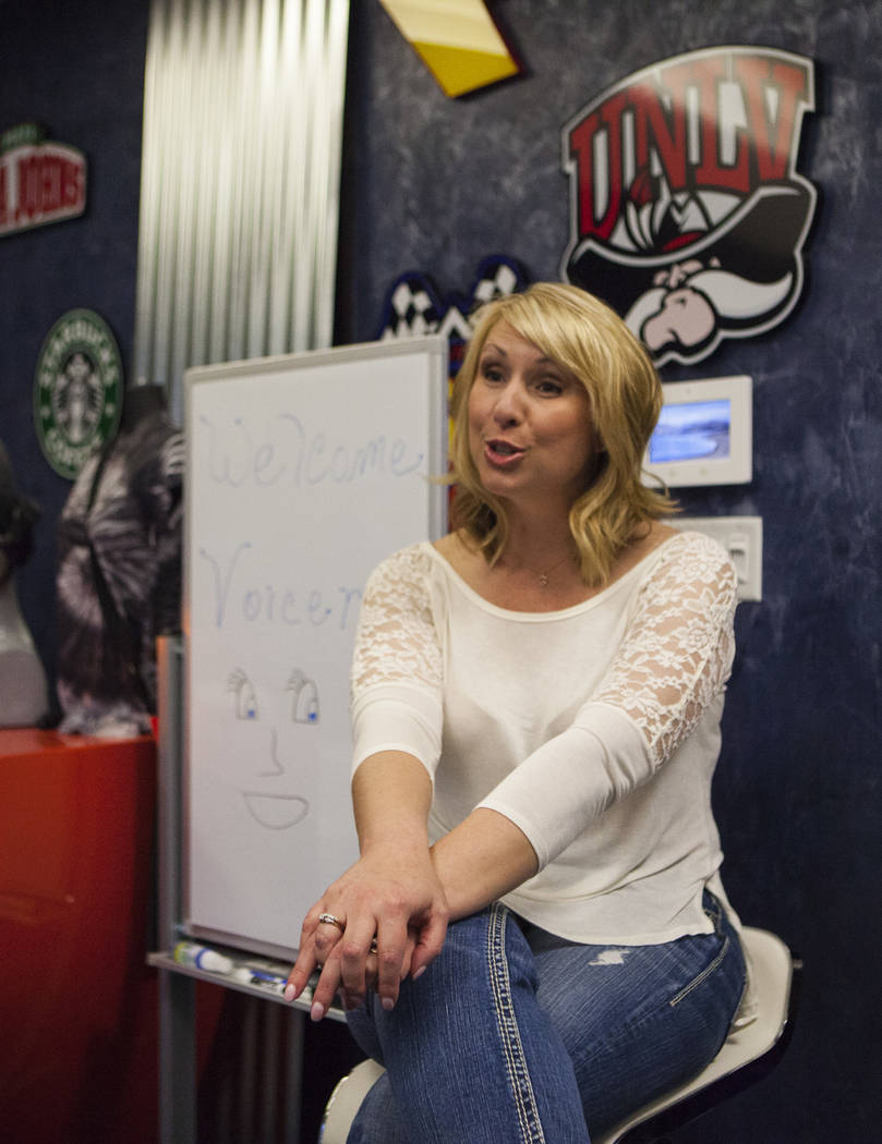 Melissa Moats speaks to a reporter at the Voice Actors Studio in Henderson on Wednesday, March 8, 2017. (Miranda Alam/Las Vegas Review-Journal) @miranda_alam