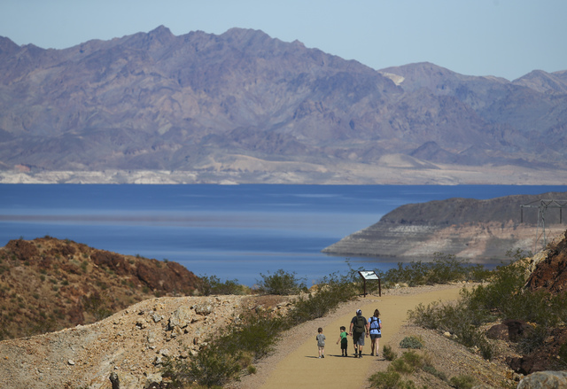 Patrick and Angel Starr of Las Vegas hike with their children along the Historic Railroad Trail at Lake Mead National Recreation Area on Tuesday, Feb. 14, 2017. (Chase Stevens/Las Vegas Review-Jou ...