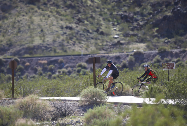 Cyclists ride on a trail outside of the Alan Bible Visitor Center at Lake Mead National Recreation Area on Tuesday, Feb. 14, 2017. (Chase Stevens/Las Vegas Review-Journal) @csstevensphoto