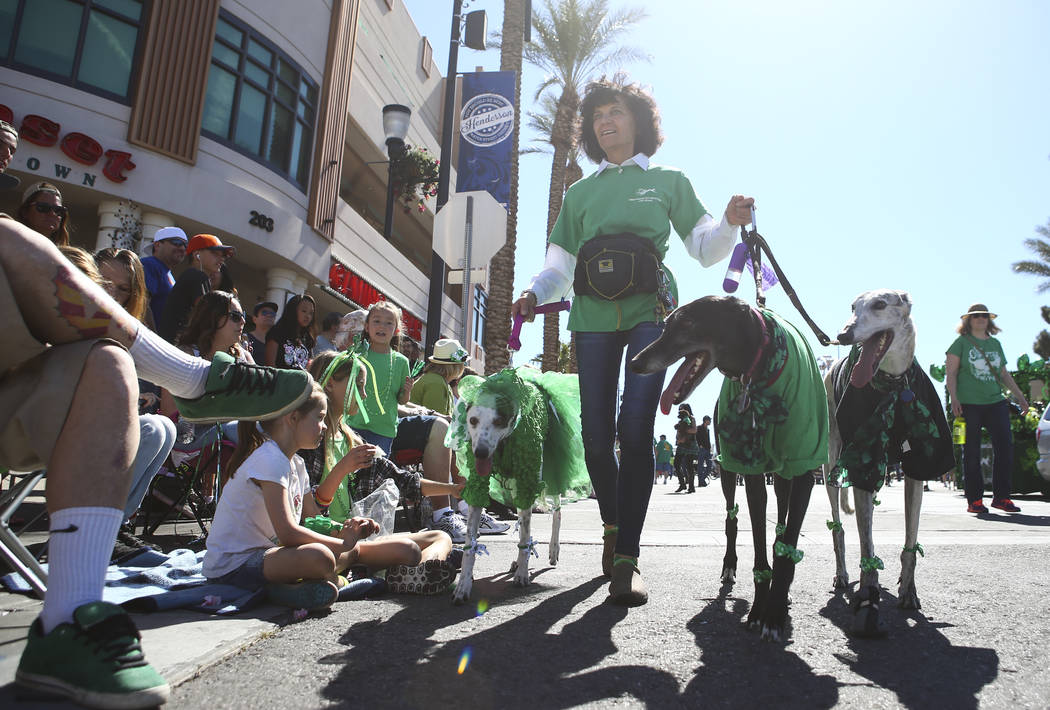 Dawn Barr walks her greyhounds, from left, Annie, Shadow, and Gunner, during the St. Patrick's Day parade in Henderson on Saturday, March 11, 2017. (Chase Stevens/Las Vegas Review-Journal) @csstev ...