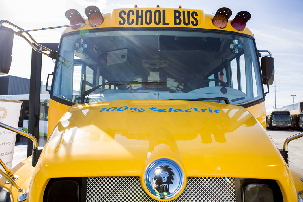 A 71-passenger eLion school bus that is fully electric at the Regional Transportation Commission of Southern Nevada Training Center, Wednesday, March 8, 2017, in Las Vegas.  (Elizabeth Brumley/Las ...