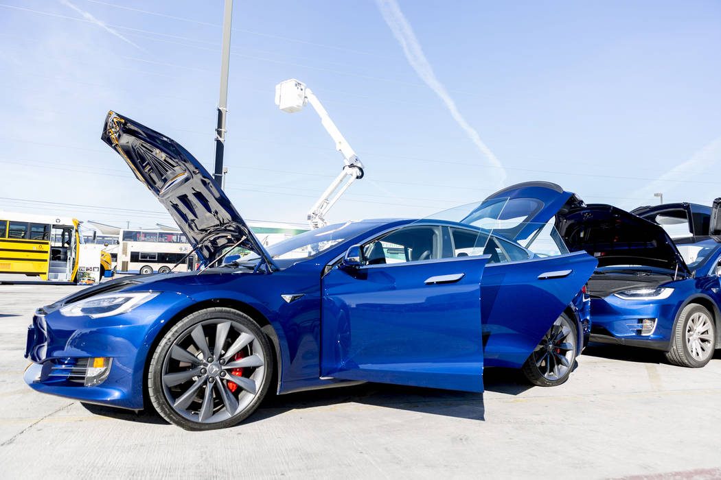 A Model S Tesla sedan at the Regional Transportation Commission of Southern Nevada Training Center, Wednesday, March 8, 2017, in Las Vegas.  (Elizabeth Brumley/Las Vegas Review-Journal) @EliPagePhoto