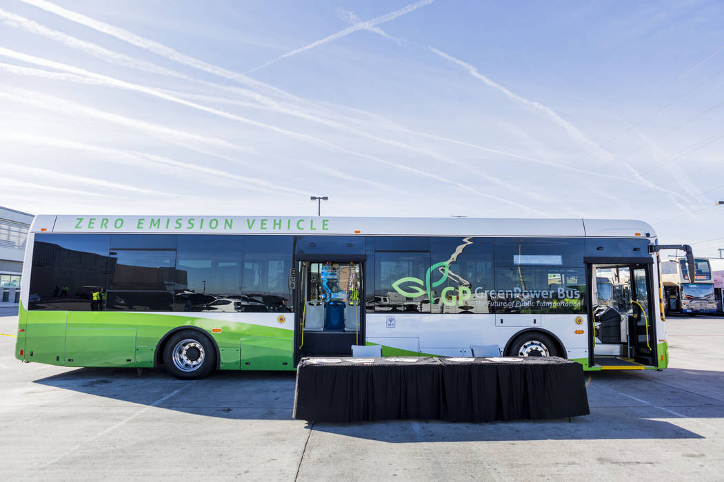 A GreenPower transit bus at the Regional Transportation Commission of Southern Nevada RTC Training Center, Wednesday, March 8, 2017, in Las Vegas.  (Elizabeth Brumley/Las Vegas Review-Journal) @El ...